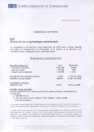 Résultats 2010 du CIC et du CM 5