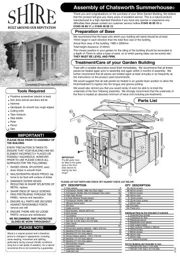Chatsworth Assembly Sheet.qxd - Taylors Garden Buildings