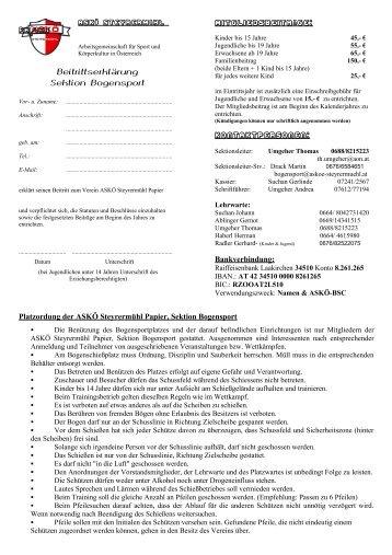 Beitrittserklärung - ASKÖ Steyrermühl Papier