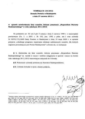 UCHWAŁA Nr 134/2012 Zarządu Powiatu w Radziejowie z dnia 27 ...