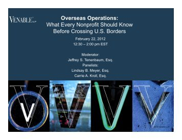 Overseas Operations: What Every Nonprofit Should ... - Venable LLP