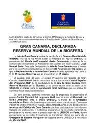 gran canaria, declarada reserva mundial de la biosfera - Cabildo de ...