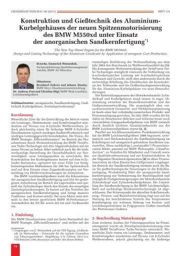 Konstruktion und Gießtechnik des Aluminium-Kurbelgehäuses der ...