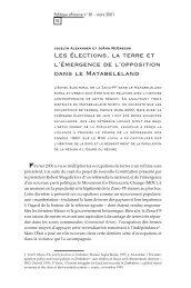 Les élections, la terre et l'émergence de l ... - Politique Africaine