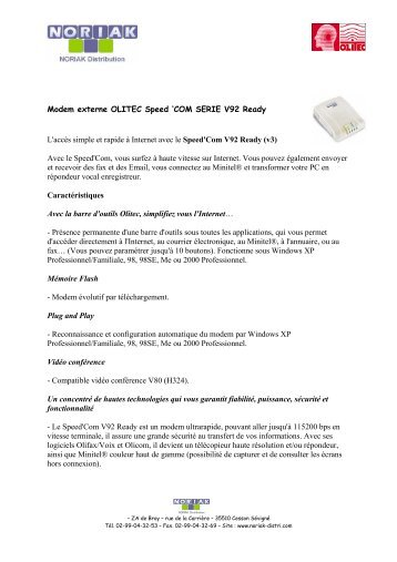 Modem externe OLITEC Speed 'COM SERIE V92 Ready L'accès ...