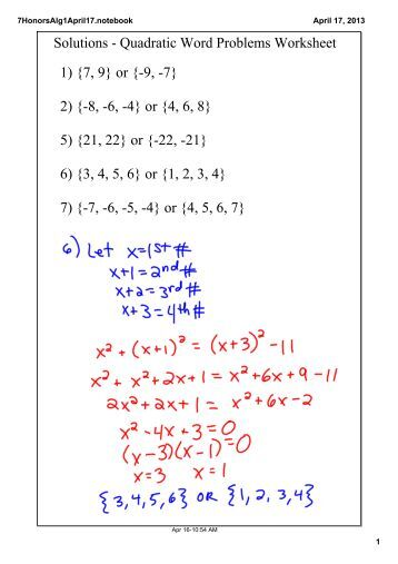 Worksheets Quadratic Word Problems Worksheet quadratic word problems ws 1 solutions worksheet 7 9 or 9