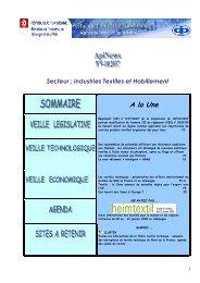 Secteur : Industries Textiles et Habillement A la Une - Tunisie industrie