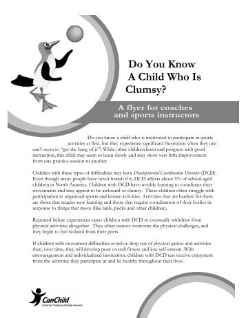 Do You Know A Child Who Is Clumsy? - CanChild