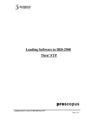 Loading Software to IRD-2900 Thru' FTP - TBC Integration