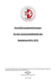 Junioren Durchführungsbestimmungen für den Spielbetrieb