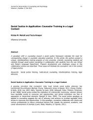 Social Justice in Application: Counselor Training in a - Psychologists ...