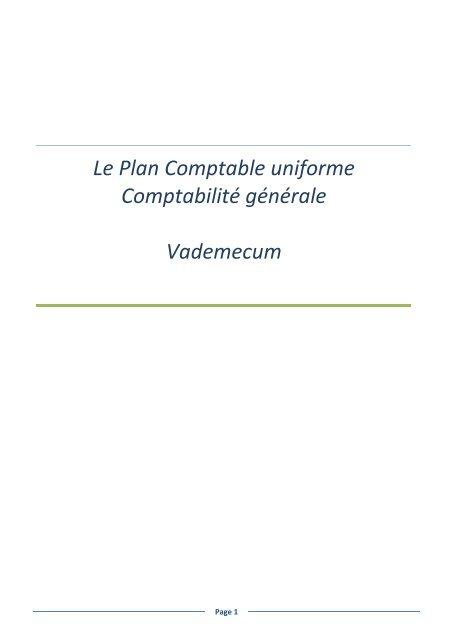 Le Plan Comptable uniforme Comptabilité générale Vademecum
