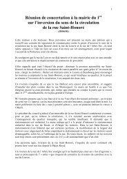 Réunion de concertation à la mairie du 1 sur l'inversion du sens de ...