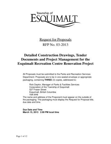 Request for Proposals RFP No. 03-2013 Detailed Construction ...
