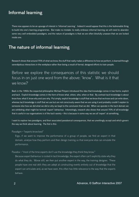 Informal learning - Saffron Interactive