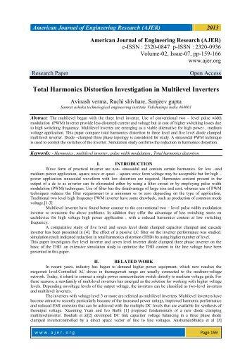 Total Harmonics Distortion Investigation in Multilevel Inverters - AJER