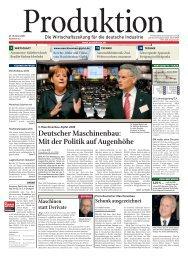 Deutscher Maschinenbau: Mit der Politik auf Augenhöhe - Produktion