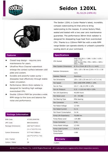 Seidon 120XL Product Sheet-1217.pdf - Cooler Master