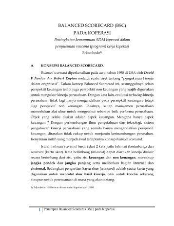 balanced scorecard (bsc) pada koperasi - Kementerian Negara ...
