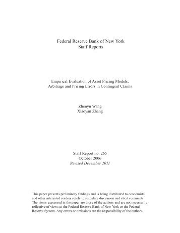 Empirical Evaluation of Asset Pricing Models - Federal Reserve ...