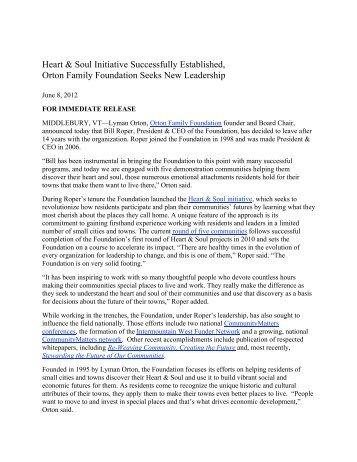 download full press release - Orton Family Foundation