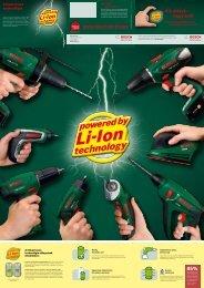 BOSCH Akkus készülékek lítium-ion technológiával