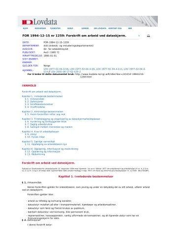 FOR 1994-12-15 nr 1259: Forskrift om arbeid ved ... - TVU-INFO