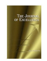 Journal Of Excellence Issue No 13 - Zone of Excellence