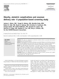 Obesity, obstetric complications and cesarean delivery rate A - UBC ...