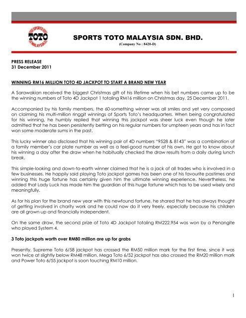 Winning RM16 Million Toto 4D Jackpot To Start - Sports Toto