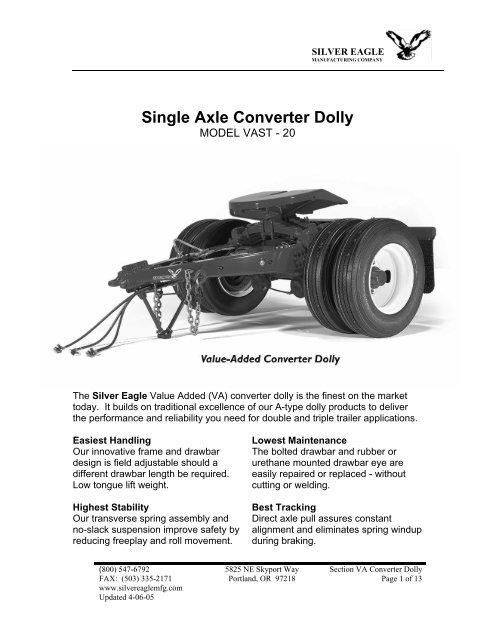 iron eagle trailers trailer plug wiring diagram 7 single axle converter dolly silver eagle manufacturing co  single axle converter dolly silver