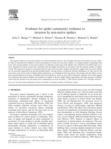 Evidence for spider community resilience to invasion by non-native ...