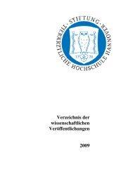 Verzeichnis der wissenschaftlichen Veröffentlichungen 2009