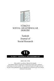 1. türkiye sosyal araştırmalar dergisi