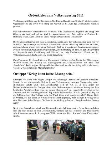 """Gedenkfeier zum Volkstrauertag 2011 Ortlepp: """"Krieg kann keine ..."""