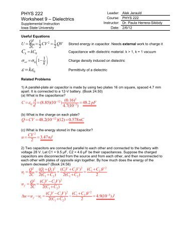 PHYS 222 Worksheet 9 Dielectrics ANSWERS - Iowa State University
