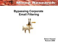 Bypassing Corporate Email Filtering - 2008 - Ruxcon