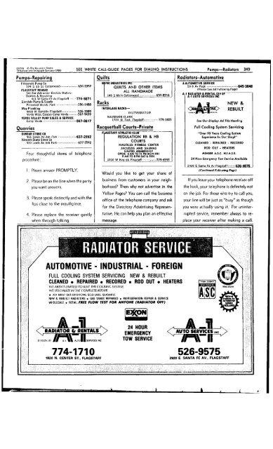 Radiator Service A 1 Arizona Memory Project