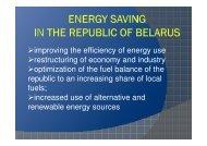 Energy saving in the REPUBLIC of BELARUS - Hanse Parlament