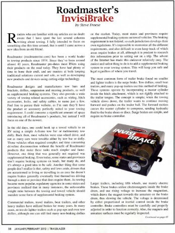 InvisiBrake featured in TrailBlazer Magazine article - Roadmaster Inc.