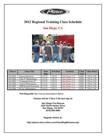 2012 Regional Training Class Schedule San Diego, CA
