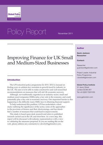 gpi-policy-report_improving-finance-for-smes - Global Policy Institute