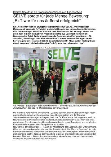 Messe R+T ein voller Erfolg (pdf, 899 KB) - Selve