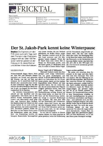 Der St. Jakob-Park kennt keine Winterpause - Basel United AG
