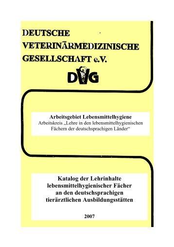 Katalog der Lehrinhalte lebensmittelhygienischer Fächer an den ...