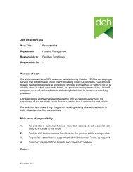JOB DESCRIPTION Post Title: Receptionist Department ... - DCH