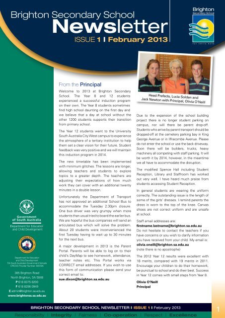 Brighton Secondary School Newsletter February 2013