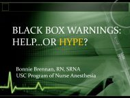 black box warnings - California Association of Nurse Anesthetists