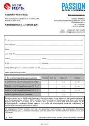 Aussteller-Anmeldung Anmeldeschluss: 7. Februar 2014 - Passion