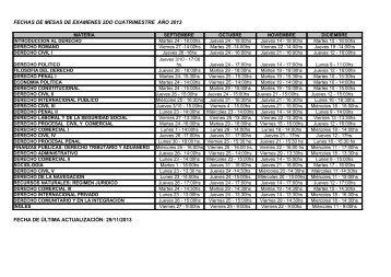 fechas de mesas de examenes 2do cuatrimestre año 2013